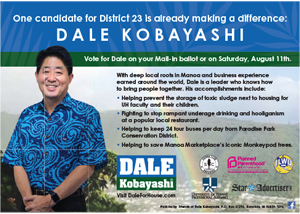 Ad for District 23 Candidate, Dale Kobayashi