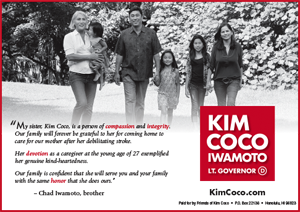 Ad for Lt. Governor Candidate, Kim Coco Iwamoto