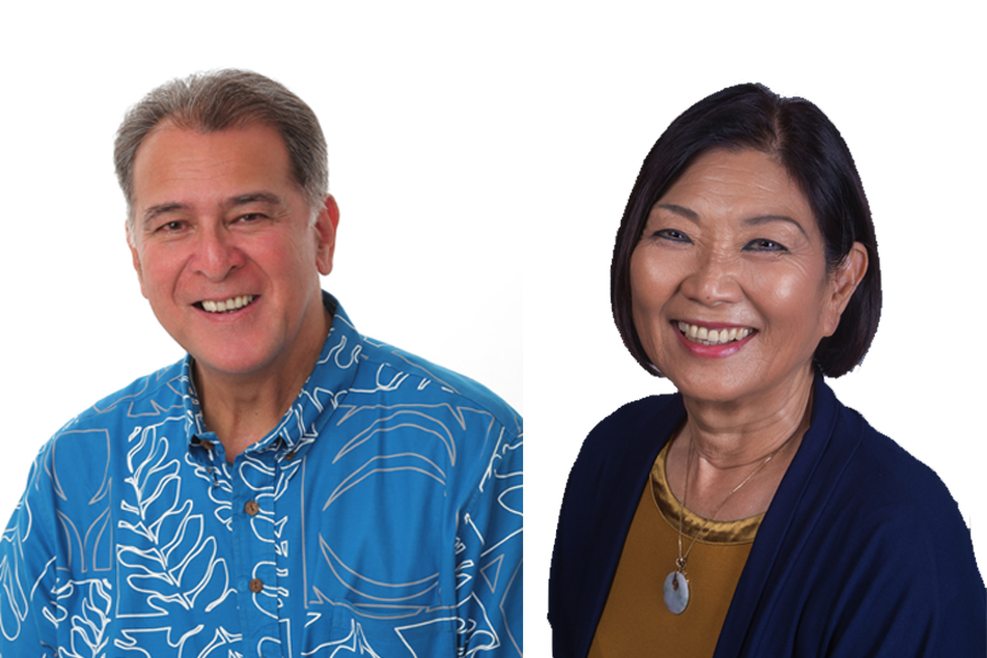 Headshots of Senate District 12 Candidates, Sen. Brickwood Galuteria and Sharon Moriwaki