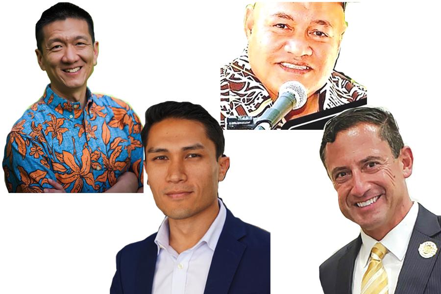 Photos of Congressional Candidates Doug Chin, Sam Puletasi, Kaniela Ing, and Raymond Vinole