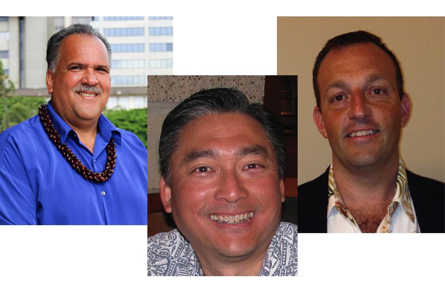 Headshots of Lieutenant Governor Candidates, Bernard Carvalho Jr., Jeremy Low, and Josh Green