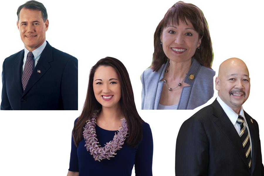 Photos of Ed Case, Beth Fukumoto, Donna Mercado Kim, and Ernie Martin