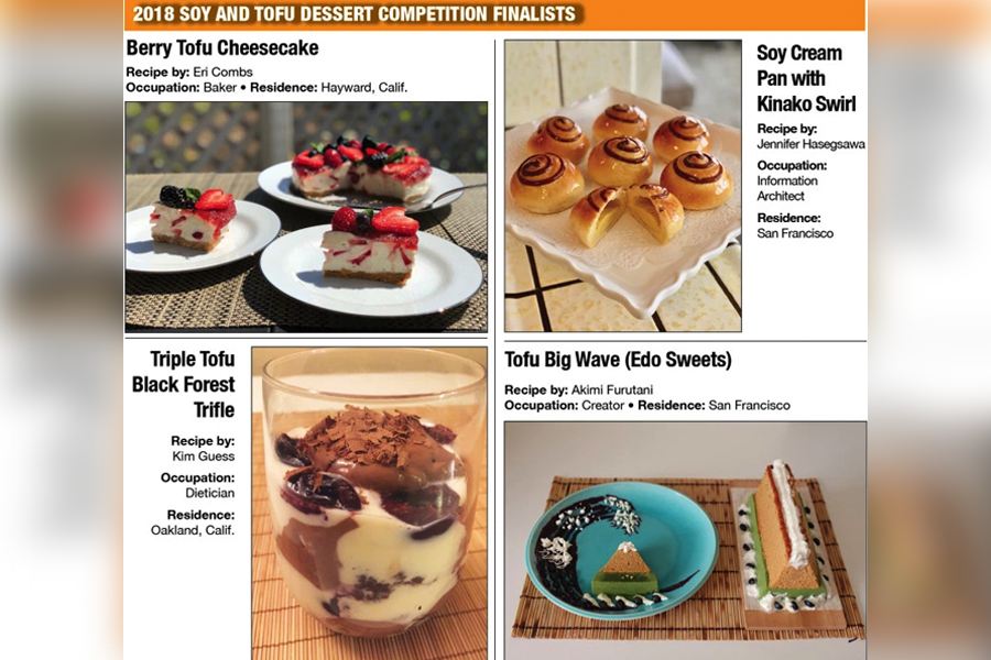 2018 Soy and Tofu Dessert Competition Finalists