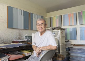 """""""He keeps looking for visual patterns, similarities, recurring motifs in the wild disorder of everyday life,"""" says art critic Wayne Muromoto of 86-year-old artist Harry Tsuchidana."""