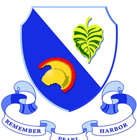 Symbol honoring 442nd/100th Battalion, with text 'Remember Pearl Harbor'
