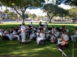 Photo of the Royal Hawaiian Band playing at Manoa Valley Church