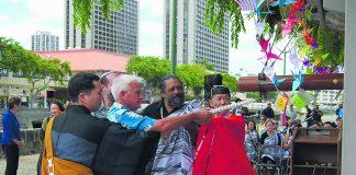 Bishop Daiya Amano, Dr. Gregg Kinkley, Dr. Kahu Kaleo Patterson, Rev. Takamasa Yamamura and Mayor Kirk Caldwell came together to ring the Hiroshima Peace Bell.