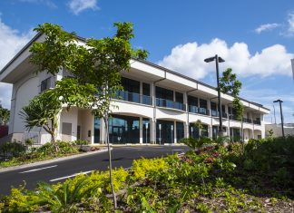 The Hawaii United Okinawa Association's new Hawaii Okinawa Plaza. (Photo by Gregg Kakesako)