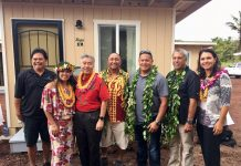 Gov. David Ige joined the organizers of Sacred Heart Village at the June 30 opening. From left: Terry Cabalar of Terry's Custom Flooring; Brandee Menino, CEO of Hope Services Hawaii; Gov. Ige; Gilbert Aguinaldo of Big Island Electrical and Pacific Rim Construction; Bronson Haunga from Haunga Construction; Darryl Oliveira, safety and internal control manager for HPM; and Congresswoman Tulsi Gabbard.