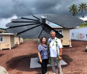 Leonard and Suellen Tanaka and their company, T&T Electric, Inc., donated the Smartflower Solar System to Hope Services Hawaii to power up Sacred Heart Village. The Smartflower Solar System retails for over $34,000. T&T Electric is the Smartflower's Hawai'i Island distributor. Leonard said it was their opportunity to give back and be of service to people needing help. (Photo courtesy Leonard Tanaka)