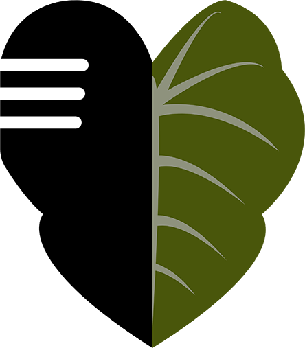 The new Center for Oral History logo depicts a taro leaf, a plant considered sacred by many in Hawai'i and central to the native Hawaiian creation story. The left side of the leaf resembles a microphone, symbolizing the recording of oral history in Hawai'i and the Pacific. (Image from the COH website)