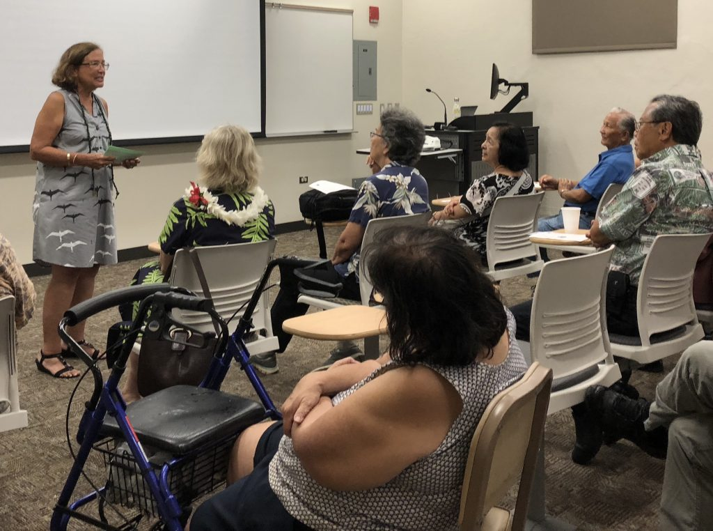 Ethnic Studies Professor Davianna Pömaika'i McGregor, director of the UH Center for Oral History, welcomes attendees at a Sept. 21 reception to help celebrate COH's past, present and future.