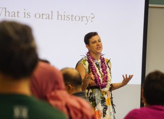 Dr. Amy Starecheski, director of Columbia University's Oral History Master of Arts Program, leads a half-day workshop as part of UH Mänoa's Center for Oral History relaunch event. (Photos courtesy UH Center for Oral History)