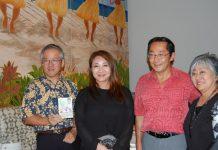 Consul General of Japan Koichi Ito; Hibari's daughter-in-law, Yuka Kato; Gannenmono commemoration co-chair Sal Miwa; and Sheree Tamura, immediate past president of the United Japanese Society of Hawaii.