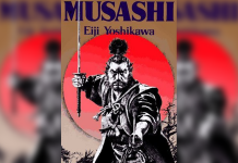 Book cover with Samurai, titled 'Musashi' By Eiji Yoshikawa