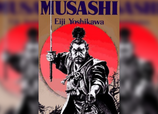 Book cover with Samurai, titled 'Musashi' By Eiji Yoshikawa