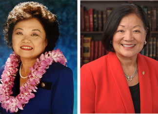 """The late U.S. Rep. Patsy T. Mink (left) and (right) U.S. Sen. Mazie Hirono. """"The actions of the congresswomen in 1991 and the fierce advocacy of Senator Hirono attest to the transformative significance of electing women who are willing to speak up on behalf of women,"""" said Mink's daughter, Wendy."""