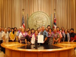"Okinawan community members joined the ""Pigs from the Sea"" families for the governor's proclamation presentation at his State Capitol office on Sept. 27."
