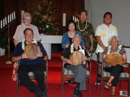 The 2018 Puaka'ana o ka lä (Rise Up!) awards recipients were: (seated, from left) comedian Frank DeLima; the Rev. Dr. Teruo Kawata and Dr. Amy Agbayani. Standing behind them are (from left): Sr. Joan Chatfield, Janet Fujioka, the Rev. Dr. Wally Fukunaga and Dr. Jeffrey Acido. (Photo by Kevin Kawamoto)