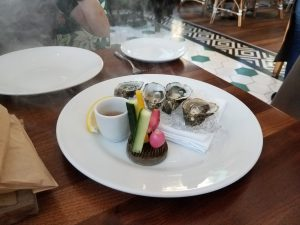 """""""Smokin' Oysters"""" on the half shell."""