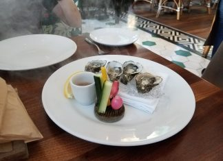 """Smokin' Oysters"" on the half shell."