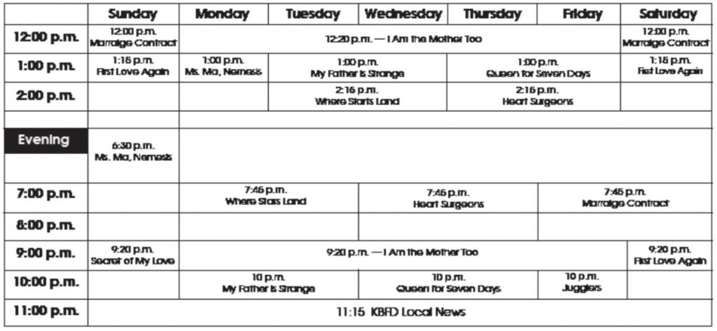 KBFD TV Program Schedule for December 2018