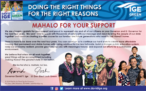 Ad for Governor David Ige, 'Mahalo for Your Support'