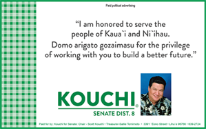 Ad for Kouchi, Senate District 8