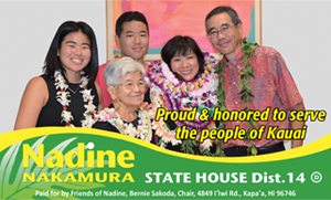 Ad for Nadine Nakamura, State House District 14