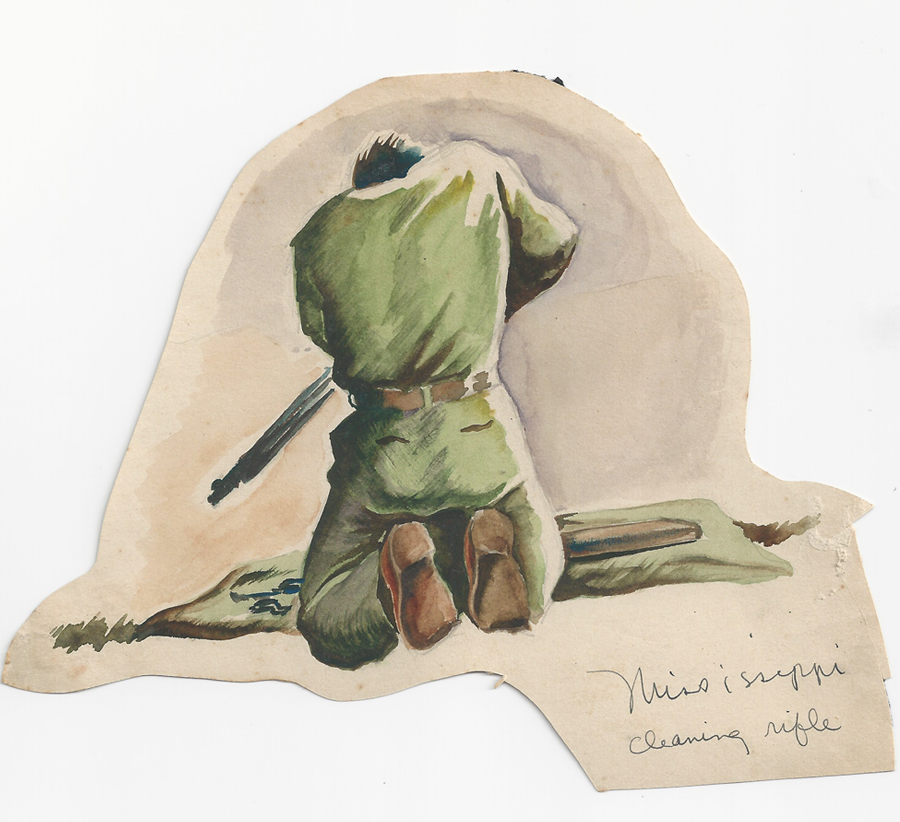 Scanned photo of drawings of veterans cleaning rifle