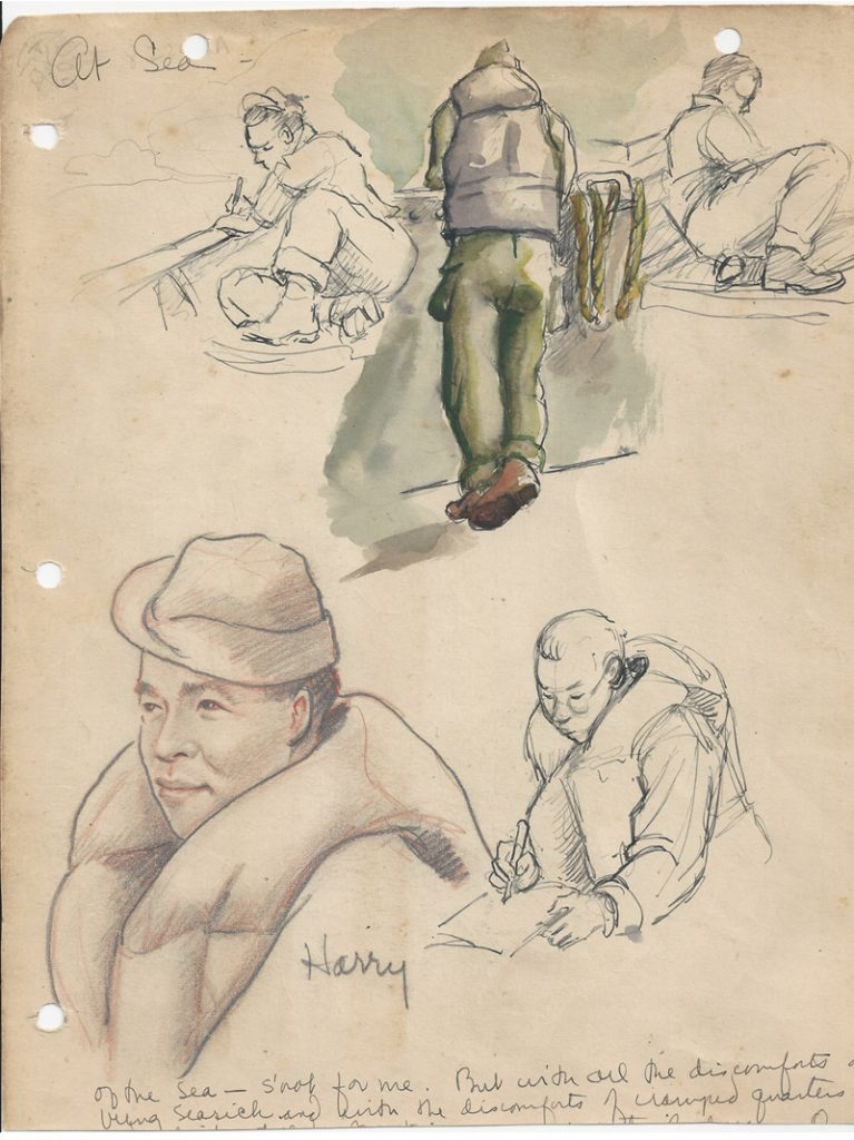 Scanned photo of drawings of veterans at Sea