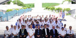 Front row: Ted Tsukiyama (MIS); Rev. Yoshiaki Fujitani (MIS); Wesley Deguchi, NVL president; Adm. Phil Davidson, Commander, U.S. Indo-Pacific Command; Gov. David Ige; Lt. Gov. Doug Chin; Mayor Kirk Caldwell; Kenji Ego (442nd RCT); and Dr. Shinye Gima (MIS). Second row: Kazuto Shimizu (100th Infantry Battalion); Robert Kishinami (442nd RCT), Shigeo Inouye (442nd RCT); Glen Arakaki (MIS); Dr. Yoshinobu Oshiro (MIS); Richard Murashige (442nd RCT); Roy Fujii (442nd RCT); Ralph Tomei (442ndRCT) and Harold Ueoka (442nd RCT). Pictured behind the veterans and members of veterans service organizations, are JROTC cadets from Punahou, Roosevelt and Kapolei high schools and UH Air Force ROTC cadets who assisted with the service. (Photo by Terry Takaki)