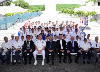 Front row:  Ted Tsukiyama (MIS); Rev. Yoshiaki Fujitani (MIS); Wesley Deguchi, NVL president; Adm. Phil Davidson, Commander, U.S. Indo-Pacific Command; Gov. David Ige; Lt. Gov. Doug Chin; Mayor Kirk Caldwell; Kenji Ego (442nd RCT); and Dr. Shinye Gima (MIS). Second row: Kazuto Shimizu (100th Infantry Battalion); Robert Kishinami (442nd RCT), Shigeo Inouye (442nd RCT); Glen Arakaki (MIS); Dr. Yoshinobu Oshiro (MIS); Richard Murashige (442nd RCT); Roy Fujii (442nd RCT); Ralph Tomei (442ndRCT) and Harold Ueoka (442nd RCT). Pictured behind the veterans and members of veterans service organizations, are JROTC cadets from Punahou, Roosevelt and Kapolei high schools and UH Air Force ROTC cadets who assisted with the service. (Photo by Terry Takaki)