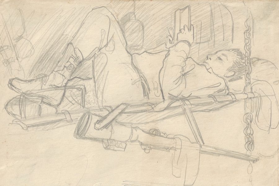 Scanned photo of drawing of a veteran reading