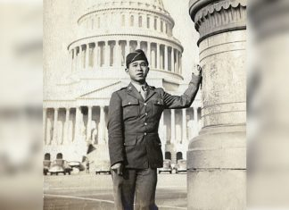 Soldier standing in front of capital in Washington, D.C. promoting 'Proof of Loyalty' film