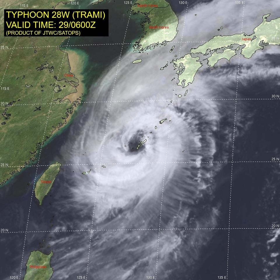 Aerial photo of Typhoon Trami