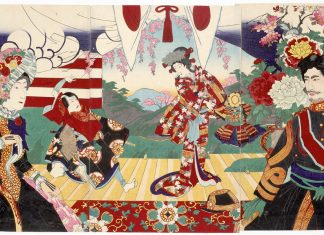 Emperor Meiji and his wife, Empress Shöken, are featured in this print by Hashimoto Chikanobu (1838-1912). It commemorates the first time a Japanese emperor attended a kabuki play and was publicized in order to help resuscitate the art of kabuki, which, along with other traditional arts, was dying due to rapid Westernization. (Courtesy Honolulu Museum of Arts, Anonymous gift)