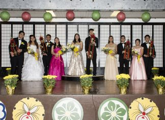 The 2018 Chrysanthemum Festival Court and their escorts: (from left) Princess Jolee Tanaka and Dylan Tajima, Princess Lannie Hisashima and Rielyn Domingo, Queen Erin Tanaka and Bryson Uchima, Princess Kayleen Lau and Kayden Lanakila Choda-Kowalski, and Princess Kara Nakahashi and Xaden Nishimitsu. (Photo by Nagamine Photo Studio)