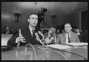 """Fred Rogers testifying before the U.S. Senate in the film, """"Won't You Be My Neighbor?"""" (Credit: Robert Lerner / Library of Congress)"""