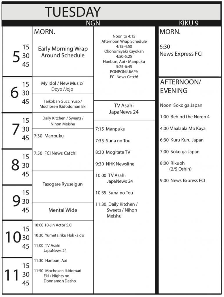 TV Program Schedule 1/18/19 Issue - Tuesday