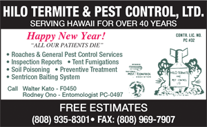 Ad for Hilo Termite & Pest Control, LTD. 'Happy New Year!'