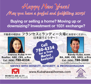 Ad for Horita Realty, Inc. and Frances Kuba and Randy Kuba 'Happy New Year! May you have a joyful and fulfilling 2019!'