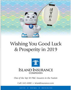 Ad for Island Insurance Companies 'Wishing You Good Luck and Prosperity in 2019'