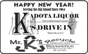 Ad for Kadota Liquor and K's Drive In 'Happy New Year!'