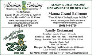 Ad for Marians Catering 'Seasons Greetings and Best Wishes for the New Year'