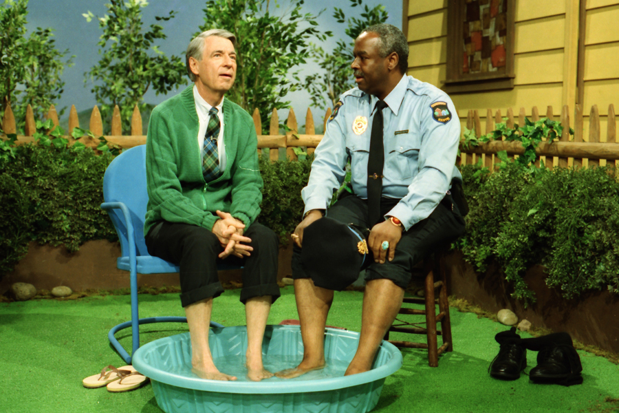 """Fred Rogers and Francois Scarborough Clemmons in a scene from """"Mr. Rogers Neighborhood."""" (Credit: John Beale)"""