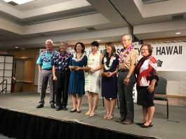 The United Japanese Society of Hawaii honored the 2018 Imperial Decoration recipients (from left) Honolulu Mayor Kirk Caldwell, Gov. David Ige, recipient Gary K. Kajiwara, recipient Kenneth H. DeHoff Jr., recipient Stewart W. Holbrook, Consul General of Japan in Honolulu Koichi Ito and UJSH president Faye Shigemura. Bishop Ryokan Ara was unable to attend the program due to illness.