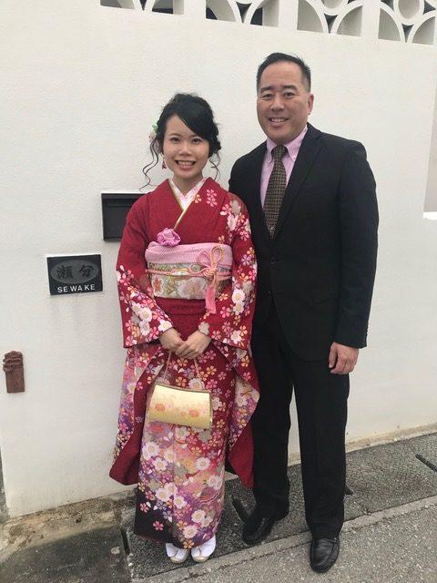 Mizuki with her proud father, Colin Sewake.