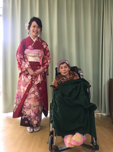 Mizuki visiting with Obaachan at her care home before heading for the Yomitan taikukan.