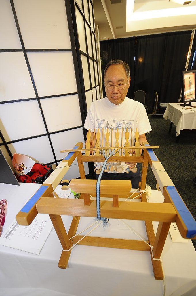 Making a kumihimo kimono cord.